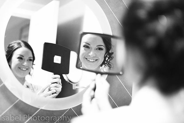 #TBT... What a special day!! We love when our brides look in the mirror and smile!  We love this shot. ❤️ #youniquechicbeauty #hair #makeup #beauty #love #weddings #weddinghair #weddingmakeup #brides #bridal #booknow #nyc #nycweddings