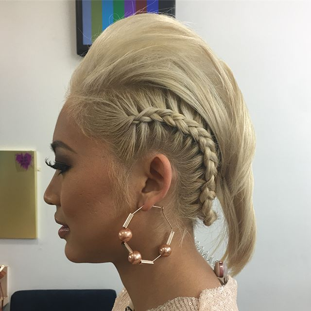 Check out this fun rockstar do by #YouNiqueChicBeauty's @cassihurdhair the other day for @mtv's @trl. We love! #hair #hairfun #braids #fauxhawk #modernretro