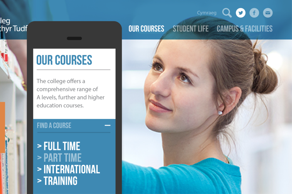 A fully responsive website was designed for The College Merthyr Tydfil