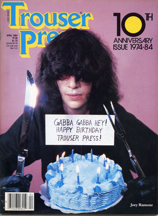 Joey Ramone, Trouser Press Cover  - April 1984 - Photo © GODLIS