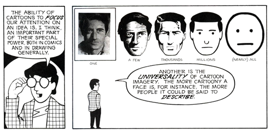 From Scott McCloud's book Understanding Comics, this diagram shows the progression of realism to abstraction. Illustration lies somewhere in between allowing interpretations and self-identification from viewers