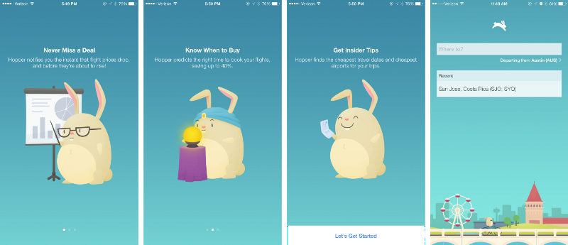 Hopper, an app that helps you find the best prices on airline tickets, uses illustrations of a chubby rabbit to help explain the function of their app to new users.