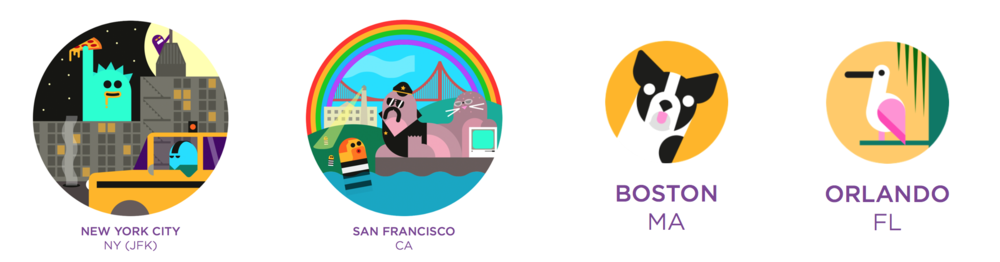 Virgin America created a suite of whimsical, illustrated icons for various destinations. They don't just show New York or San Francisco, they tell a story about the city.