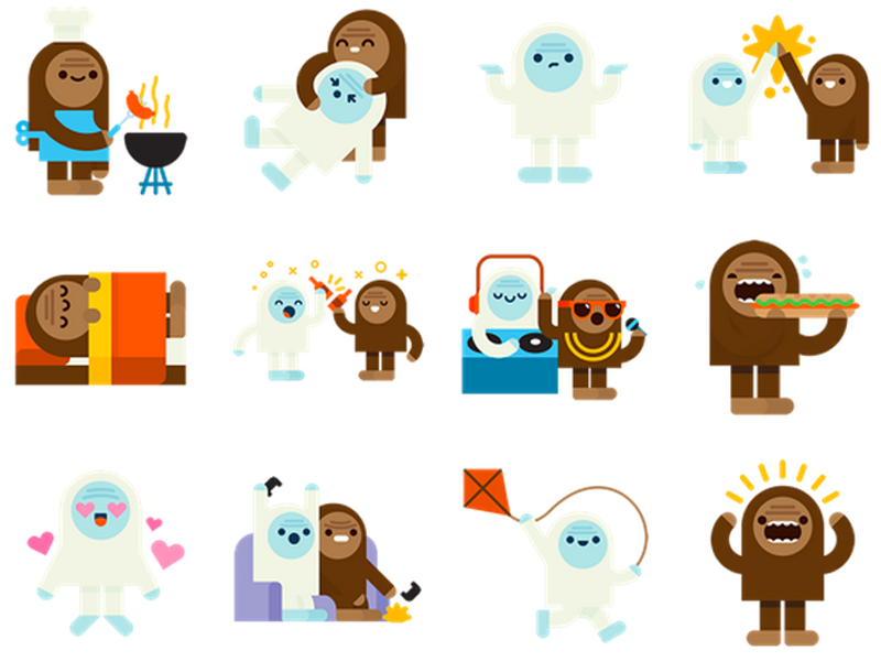Send your friend who's having a bad day illustrated stickers of cats eating pizzas or a sasquatch giving a yeti a noogie using Facebook's Messenger.