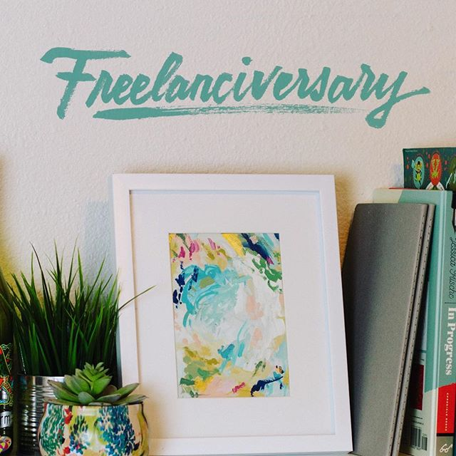 Is Freelanciversary a word? It should be. Y'all.... I can't believe it's already been a year! It's flown by so fast.  This time last year, I was wrapping up my first full day of freelancing. It's no cake walk, and I still have a lot to learn, but I'm grateful I've come this far getting to do what I love.  I thought I'd celebrate with a little #shelfie and some brush lettering.  PS — I'm accepting new clients for the summer! HMU if you need some designs and illustration lovin'.