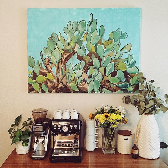 But first, coffee!  I made the painting, Andrew built the buffet table/coffee station. It's one of my fav corners in the house (and not just because I love coffee).