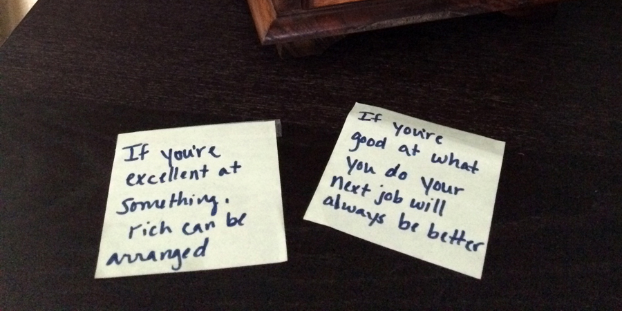 The sticky notes that Maggie has on her desk.