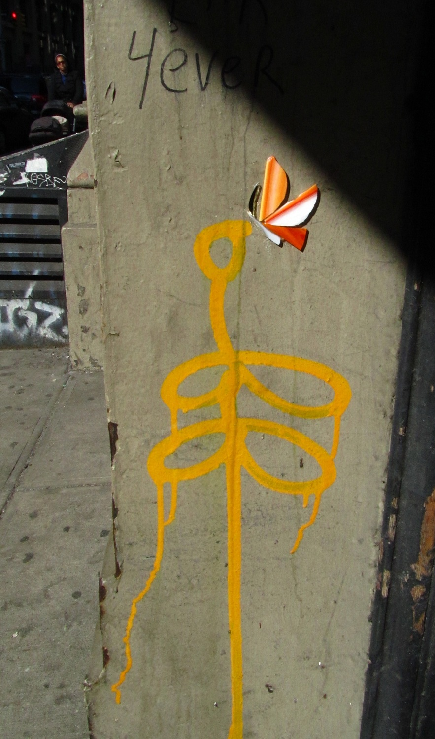 Wing's glass butterfly with unknown artist. New York, 2012