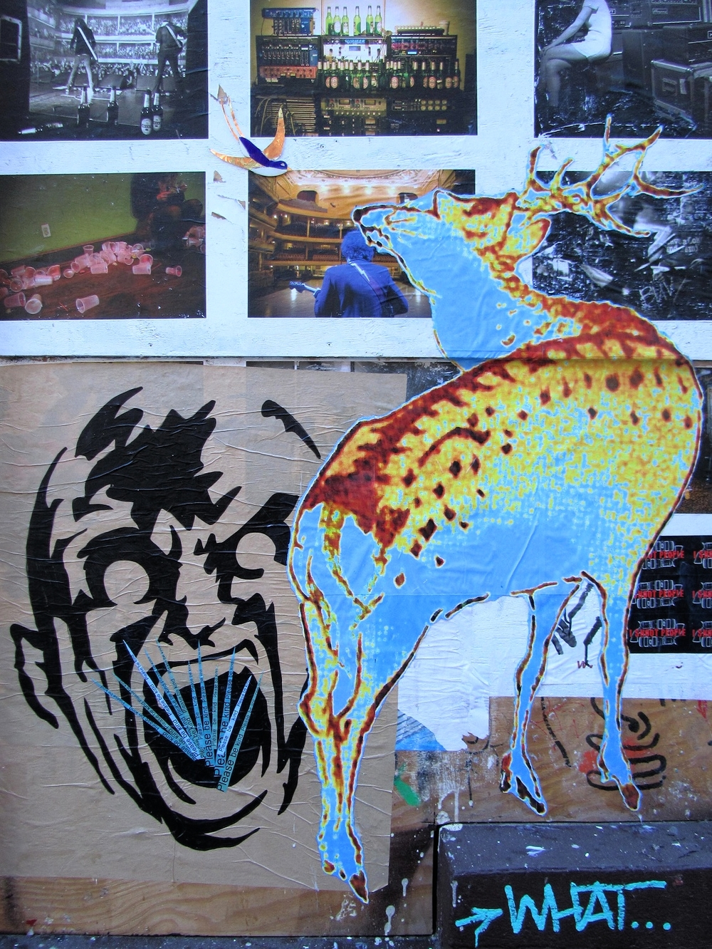 Wing's glass swallow and wheat pasted grass with wheat paste of Shin Shin's deer. New York, 2010