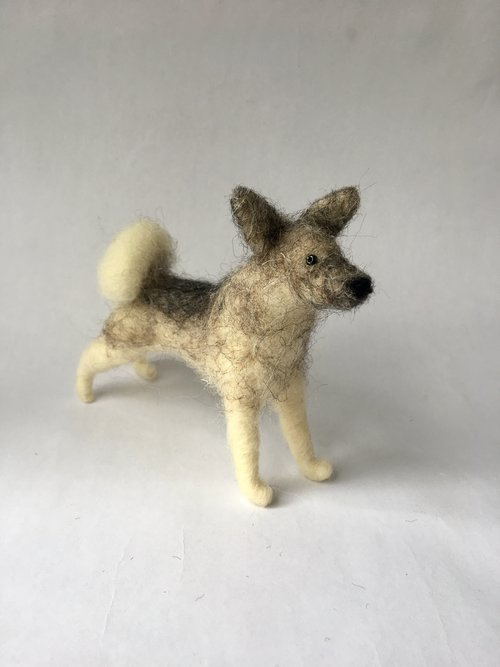 Walking Olive Felted Dog Ornaments