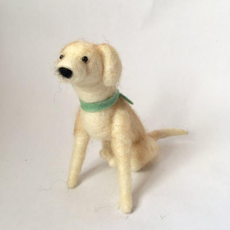 Needle Felted Dogs - Walking Olive