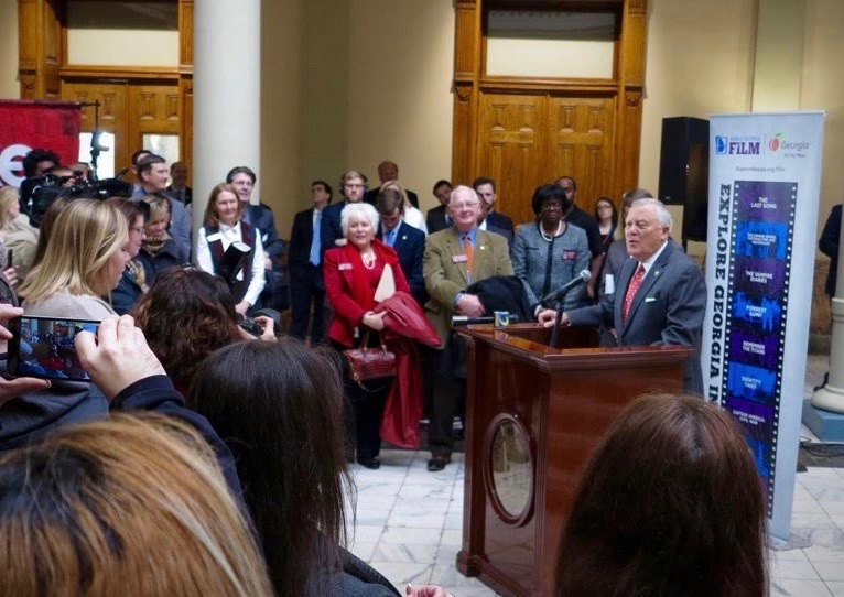 Governor Nathan Deal speaking at Film Day at the Georgia Capitol in March 2017.