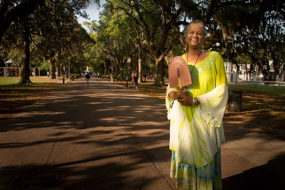 Vaughnette Goode-Walker, Historical Interpreter in Savannah.  Forsyth Park.jpg