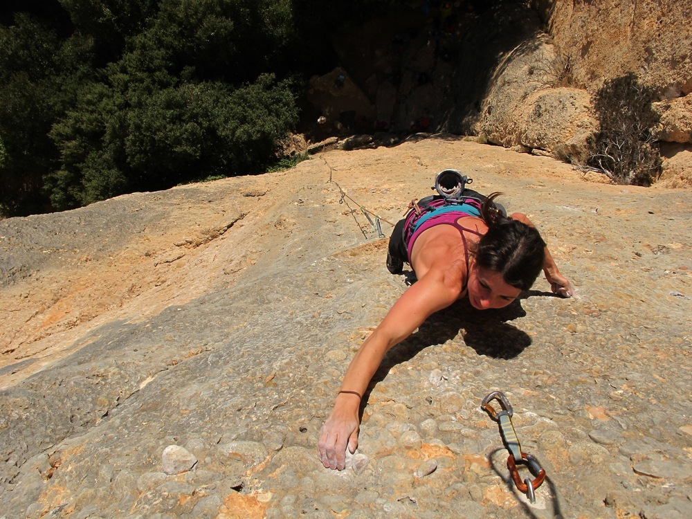 Anna cruising up the monos of a 36 metre mega-route at Monstant. Photo by Chris.