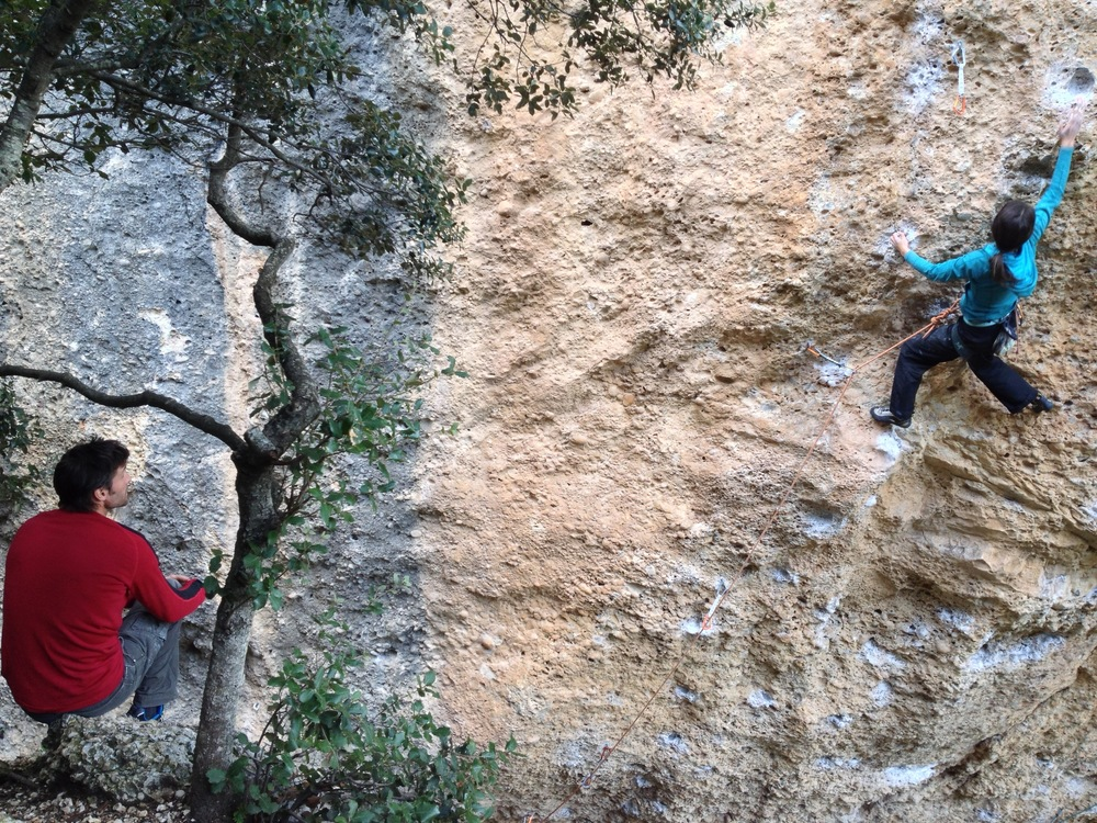 The ultimate route for viewing a battle close-up: 'Magic Festival' 7c. Here, Anna going for it with Grant watching on.