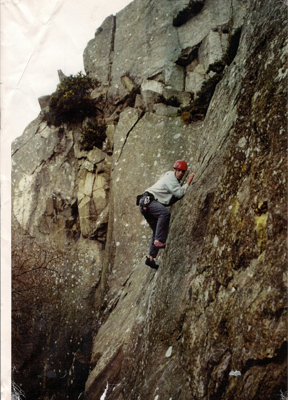 A younger self solo-ing in Dalkey quarry, E1 and no idea of the name (I've never really cared for names on forgettable routes). Glad to see I had sense to wear a helmet,  especially after the last link !