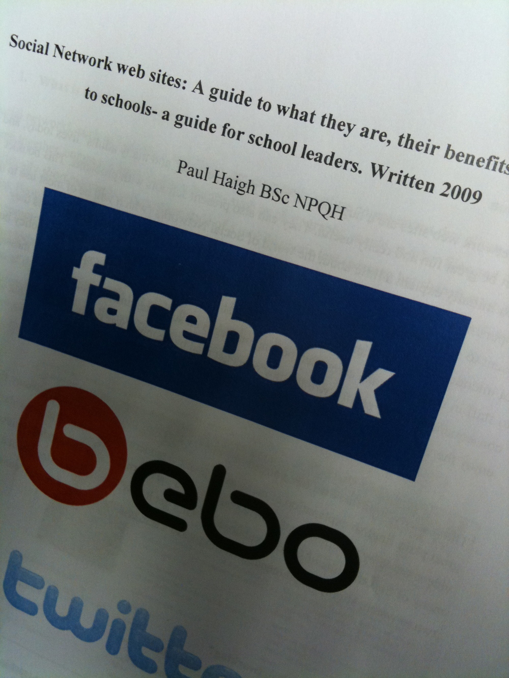 From my year learning my skills a teacher. Always amused me that an article written for teachers in 2009 had Bebo as one of the social networks - potentially slightly out of touch?!