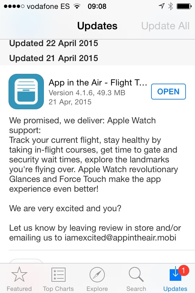 One of my favourite apps for whenever traveling,  App in the Air  (flight alerts), adds a lovely notification feature