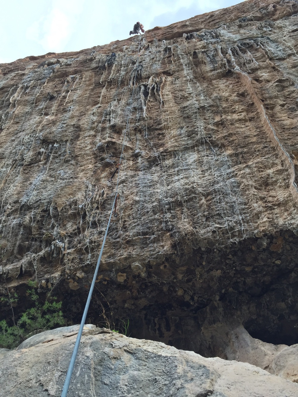 Fun 8a+ - hard boulder problem into sustained tufa into technical crimp top-out. Something to come back for.