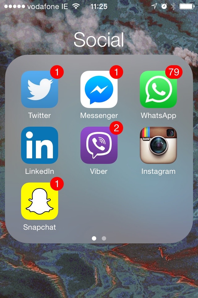 Snapchat, the app that only ever has a couple of notifications - and weirdly has a history that I can do absolutely nothing with as each and every message is deleted.