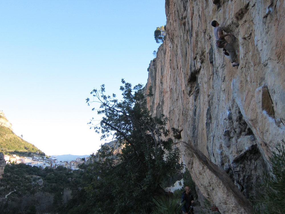 This one also went to Instagram: starting up the wonderful 'Ramallah' (the 8a variation), 40 metres of amazingly varied climbing. Photo credit: Sarah and Jason Ahmed.
