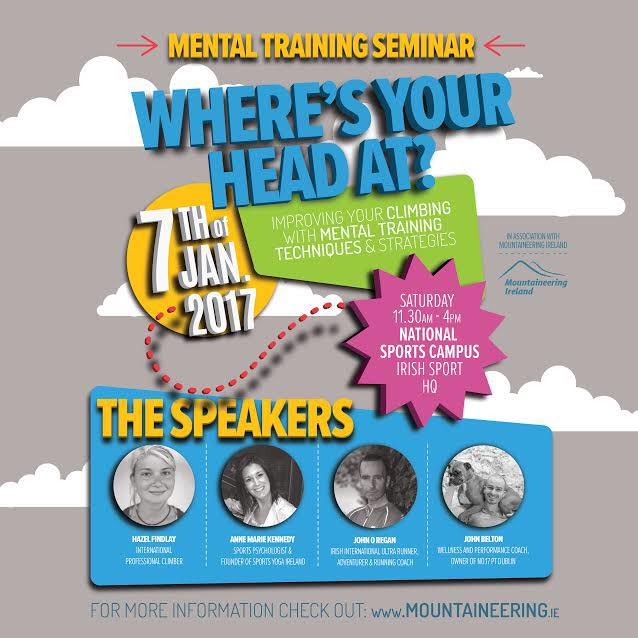 Speakers included John Belton (No17 Personal Training), Anne-Marie Kennedy (SportsYogaIreland), John O'Regan (Irish ultra-runner) and Hazel Findlay (International Professional Climber) Note: compliments to Trish Fox Designs for the artwork