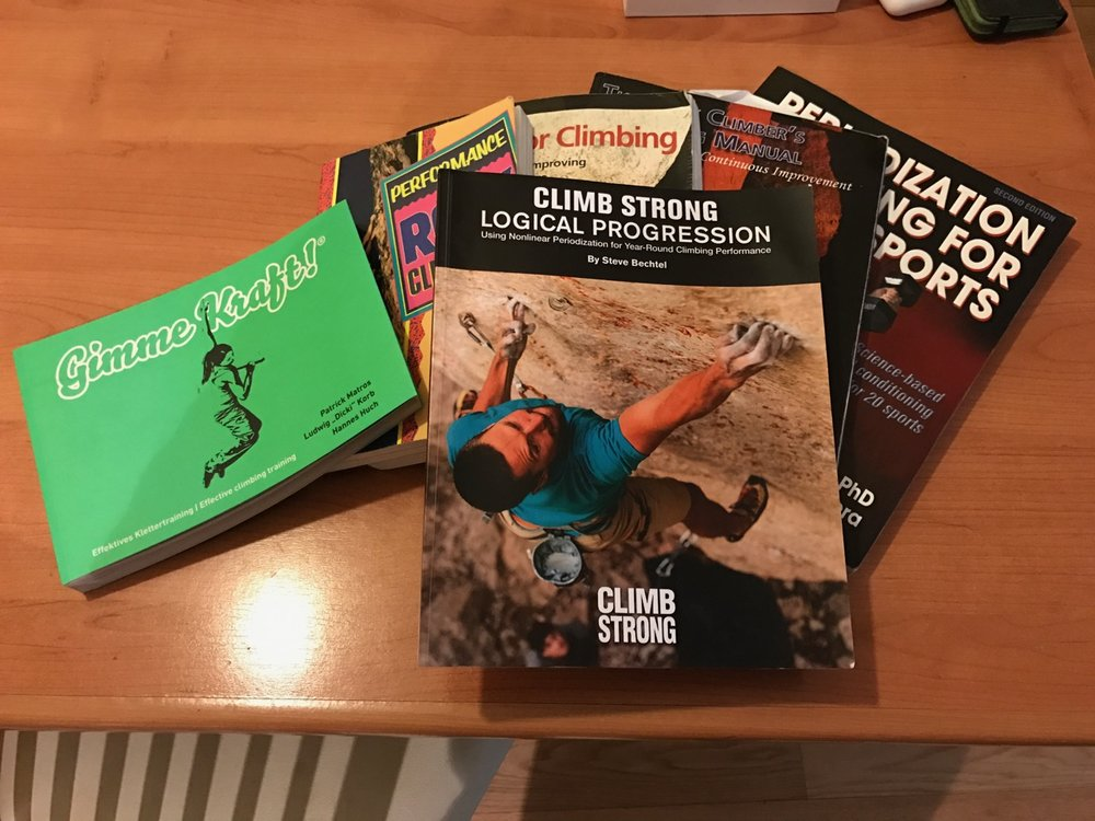 This book goes into this category of 'must-haves' in the climbing-improvement library. There's another few that fall into the same category but weren't to hand when taking this photo, e.g. Training for Alpinism.