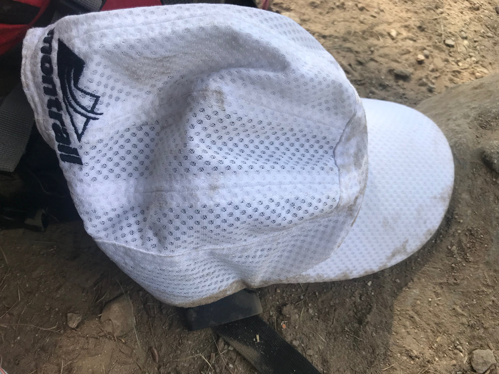 This hat started out the project white. The level of dirt was symbolic of the use of my own body, as well as giving a continuous idea of how dusty our clothes likely were.