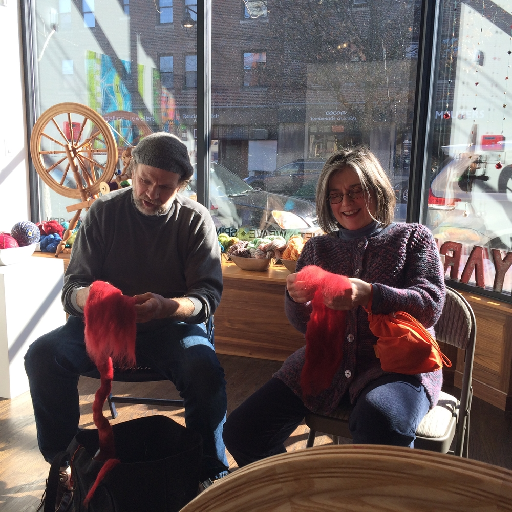 Ann and Rob prepping fiber at the Spin Along at Etui Fiber Arts, Feb. 2015