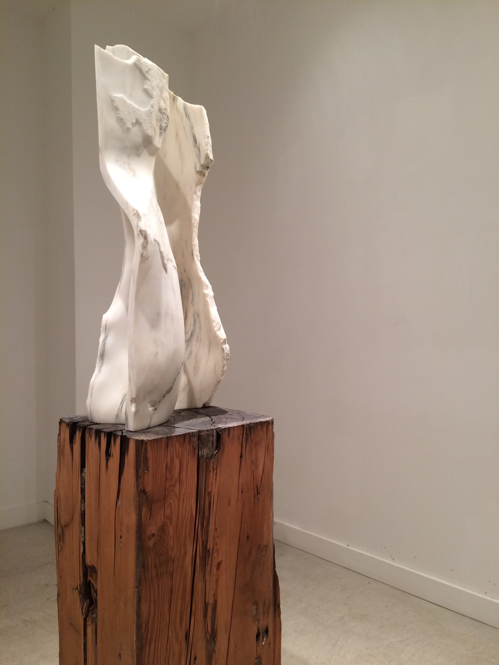 "David Perrett, Figura, Alabama Marble and Douglas Fir, 15"" x 15"" x 72"", 2012"