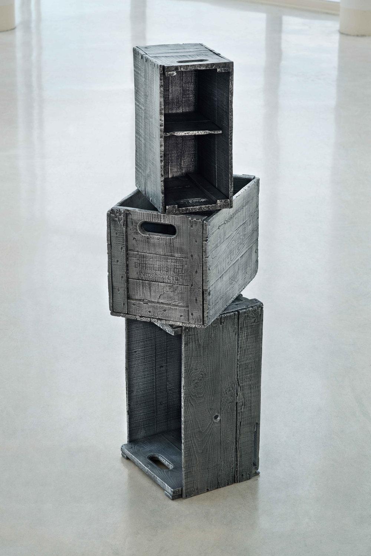 """Zeke Moores, Wooden Crates, cast aluminum, 64"""" x 24"""" x 16"""". Photo Credit: Frank Piccolo."""