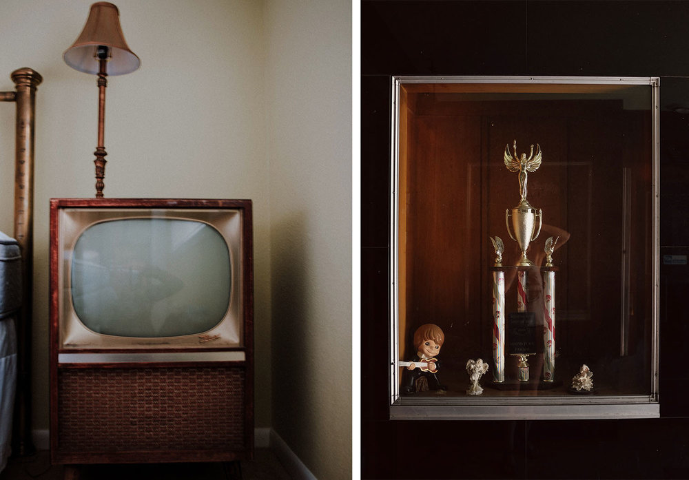 Old reflections | Montrose, Colorado 2017 | Ogden, Utah 2018 | An old television my grandmother owned and the window full of forgotten trophies at an abandon Elks Club in Ogden Utah.