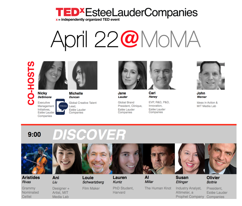 TEDx with Estee Lauder at MoMa:   Very excited to be giving a TEDx with Estee Lauder at MoMa.  I will be speaking about speculative design, olfaction, and the emotional affordances of biotechnology.  Edit: some photos from the event posted below!