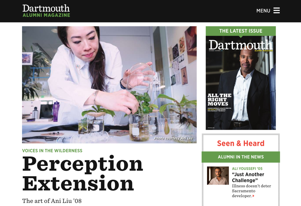 Perception Extension: The Art of Ani Liu - Profile in Dartmouth Alumni MagazineWritten by Kaitlin Bell Barnett