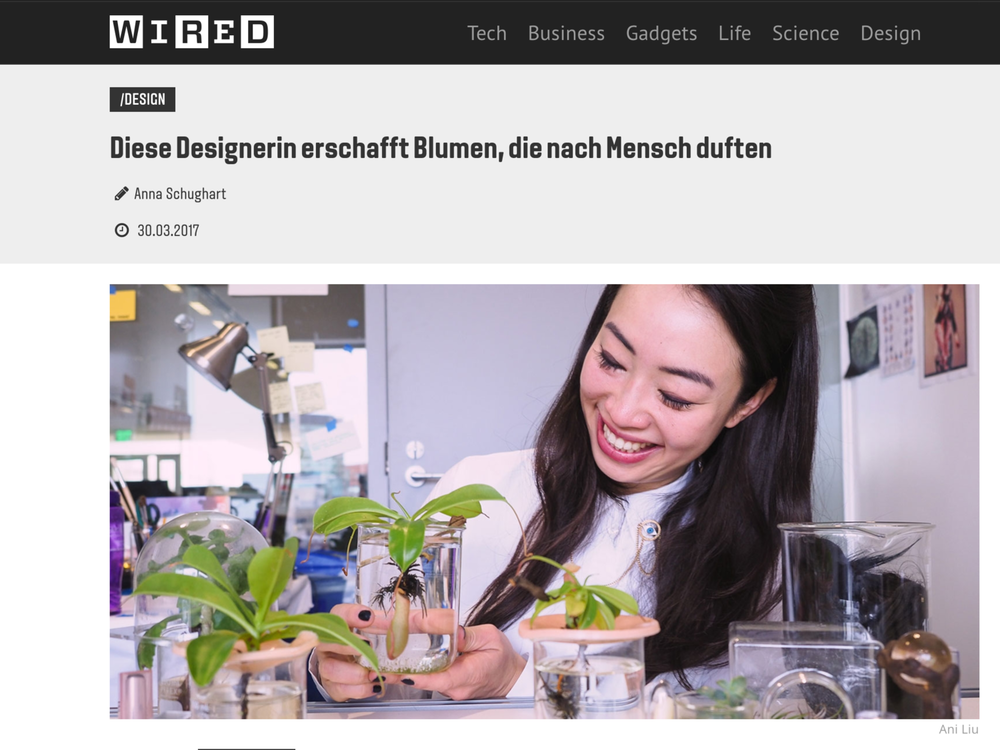This Designer Creates Flowers that Smell of Man - Article in WIRED GermanyWritten by Anna Schughart