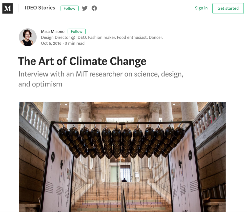The Art of Climate Change - Interview in Medium on IDEO StoriesWritten by Misa Misono