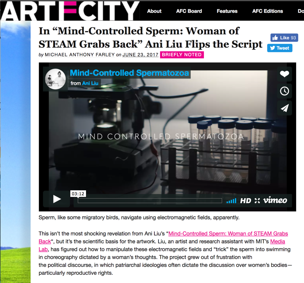 Woman of STEAM Grabs Back: Ani Liu Flips the Script - Article in ArtFCityWritten by Anthony Farley