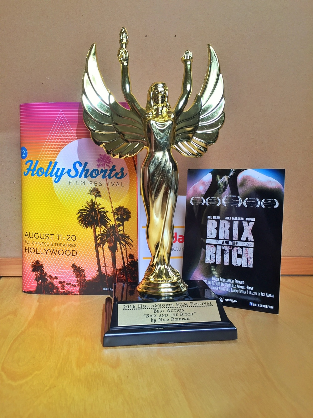 The Brix & the Bitch team is honored to win the award for Best Action Short at Hollyshorts Film Festival!