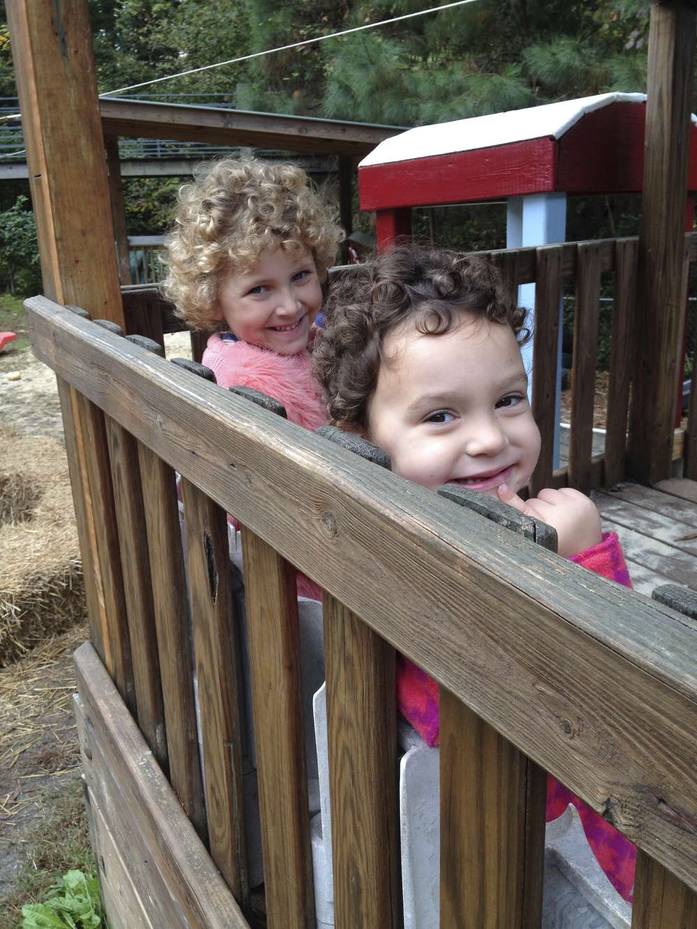 4 and 5 day friends enjoying the playground.