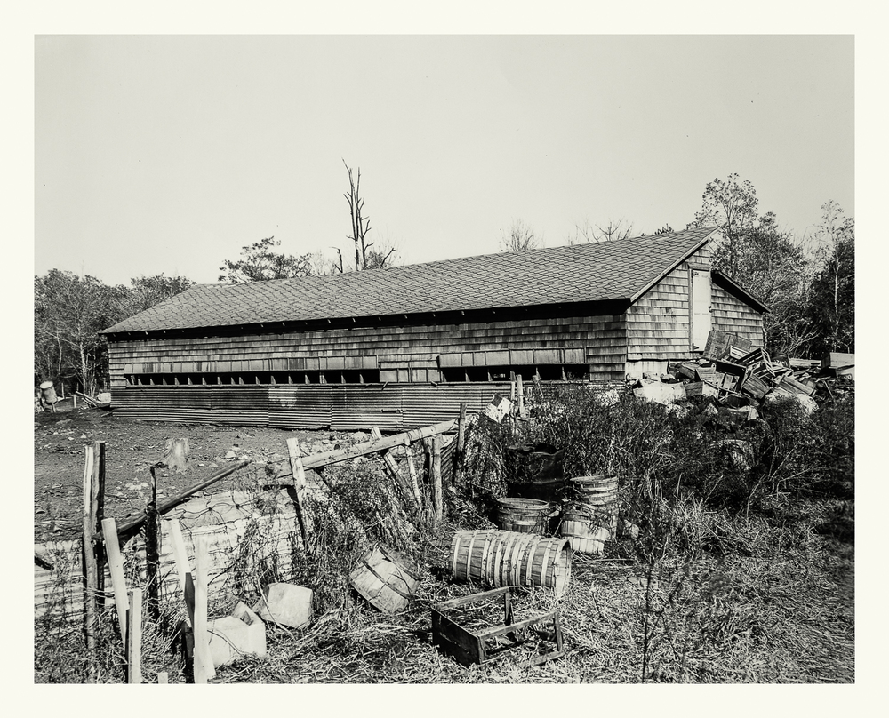 "Photograph No. PC 416. ""Photograph surveying barns and agricultural devices to be removed prior to construction of the Cohasset Naval Ammunition Depot Annex. (Note that barn has been cut in half as crews prepare for it's final removal.)"" c. 1930; Records of Naval Districts and Shore Establishments, RG 181, NARA Boston."