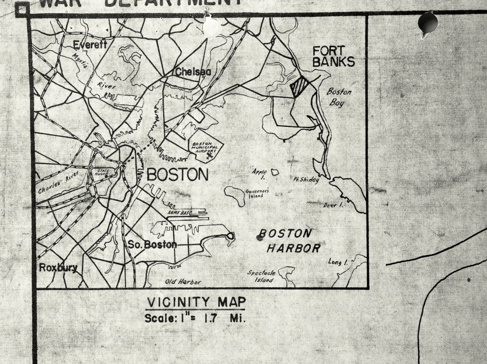"Map Detail, Boston Harbor. ""A map detail depicting Boston Harbor and positioning Fort Banks in Winthrop in relationship to the city of Boston."" c. 1970; Records of the Public Building Service 1932-1978, RG 121, NARA Boston."