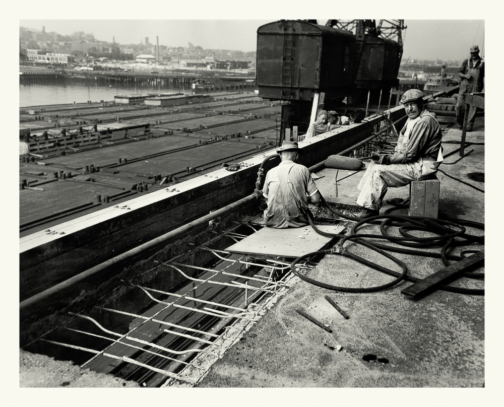 "Photograph No. 4 ""Photograph depicting workers during the construction of the Boston Army Base.""  August 12, 1946; US Army Corps of Engineers. Records of the Office of the Chief of Engineers, 1789-1999, RG 77; NARA Boston."