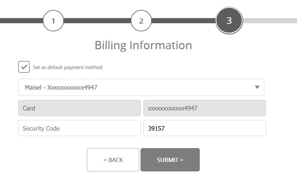 Confirm Billing Information - You will need to supply the security code from the back of your debit/credit card.