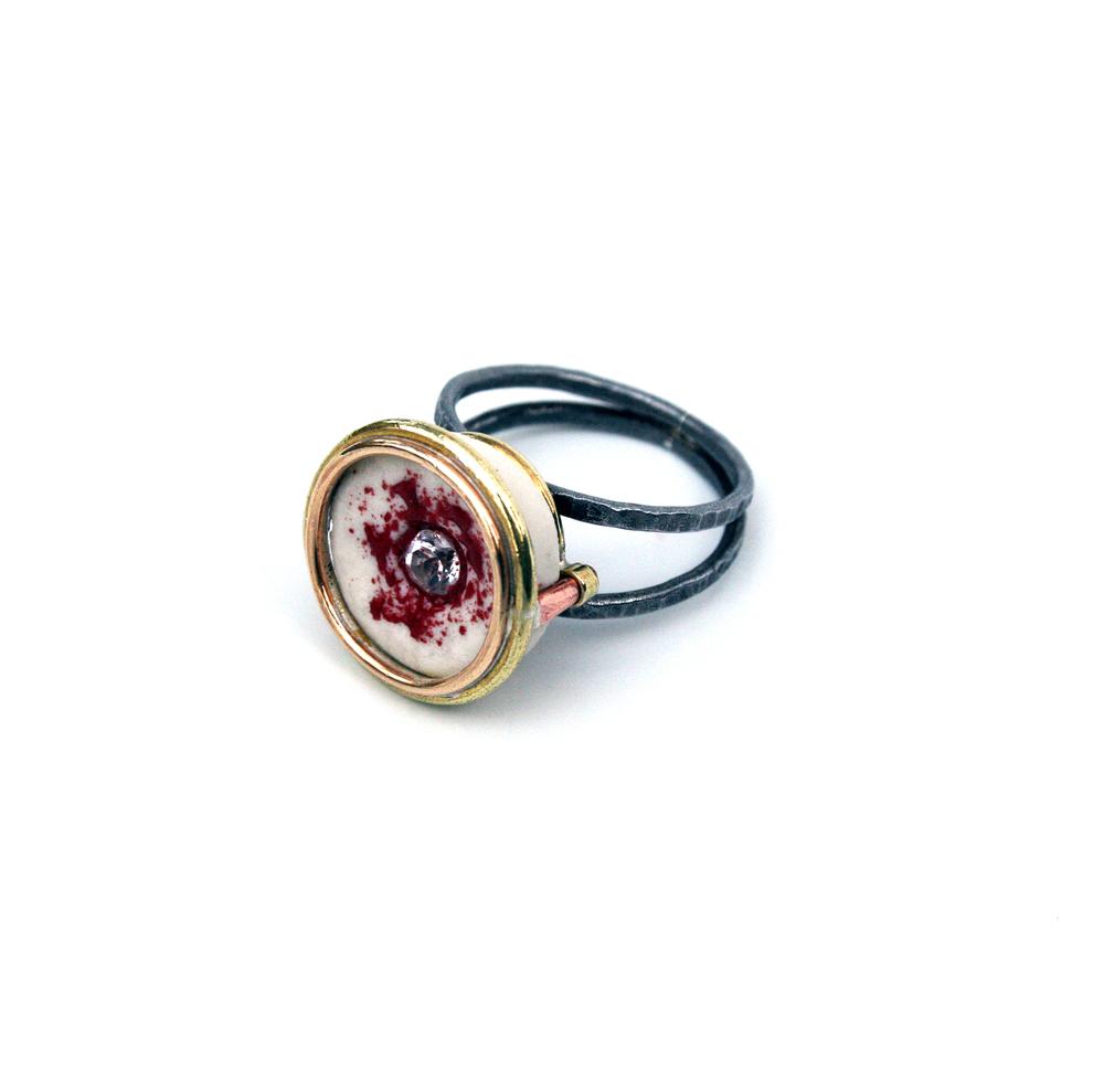 Red Ring, 2013 ceramic, enamel, steel, brass, copper, white topaz