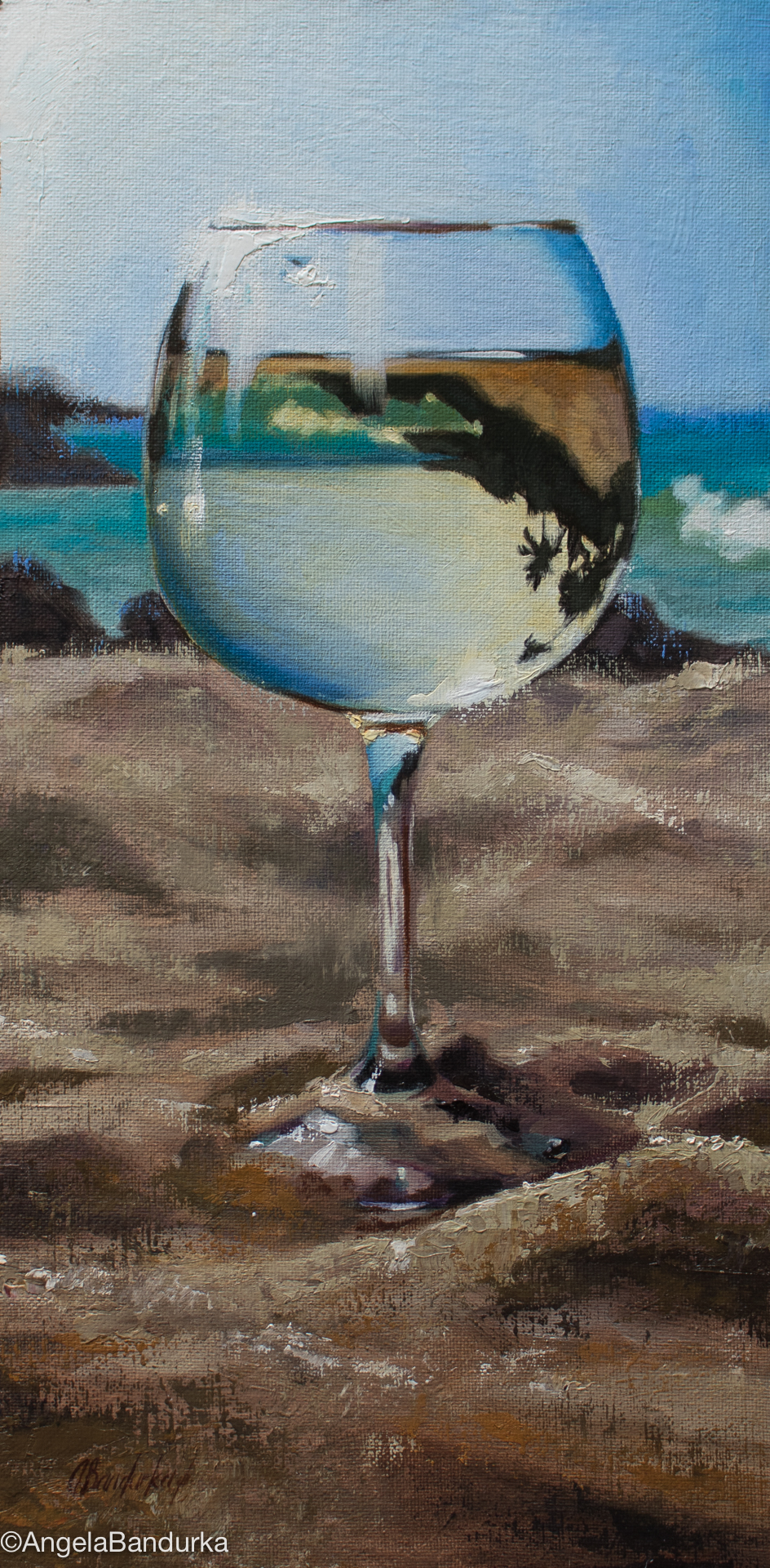 Beach Reflections, 16x8-in, oil