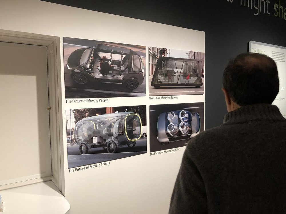 Concepts created for the Future of Automobility series exploring moving people, things, spaces and together are on view within the exhibit space.
