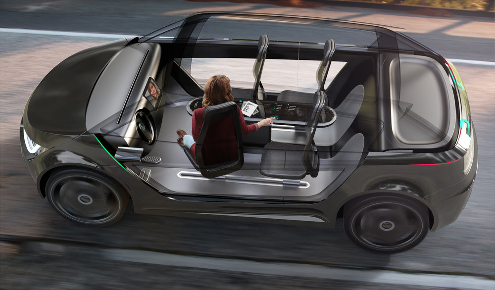 Capturing New Productivity  - How might we design future vehicle interiors that empower occupants to work or connect with others while en route? What might happen to the affordances for manual driving and how might that transition take place?