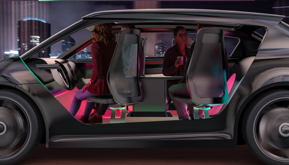 Work or Play -  New seating configurations enhanced by new forms of ambience that allow for more natural social interactions will evolve as Level 5 autonomous systems become available.