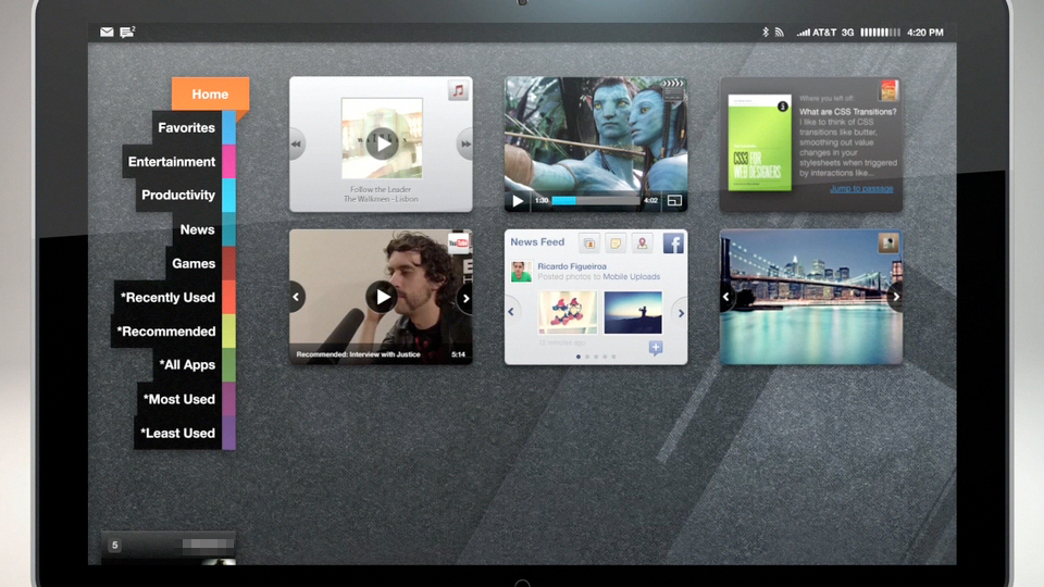 Tablet UX concept with content categorization.