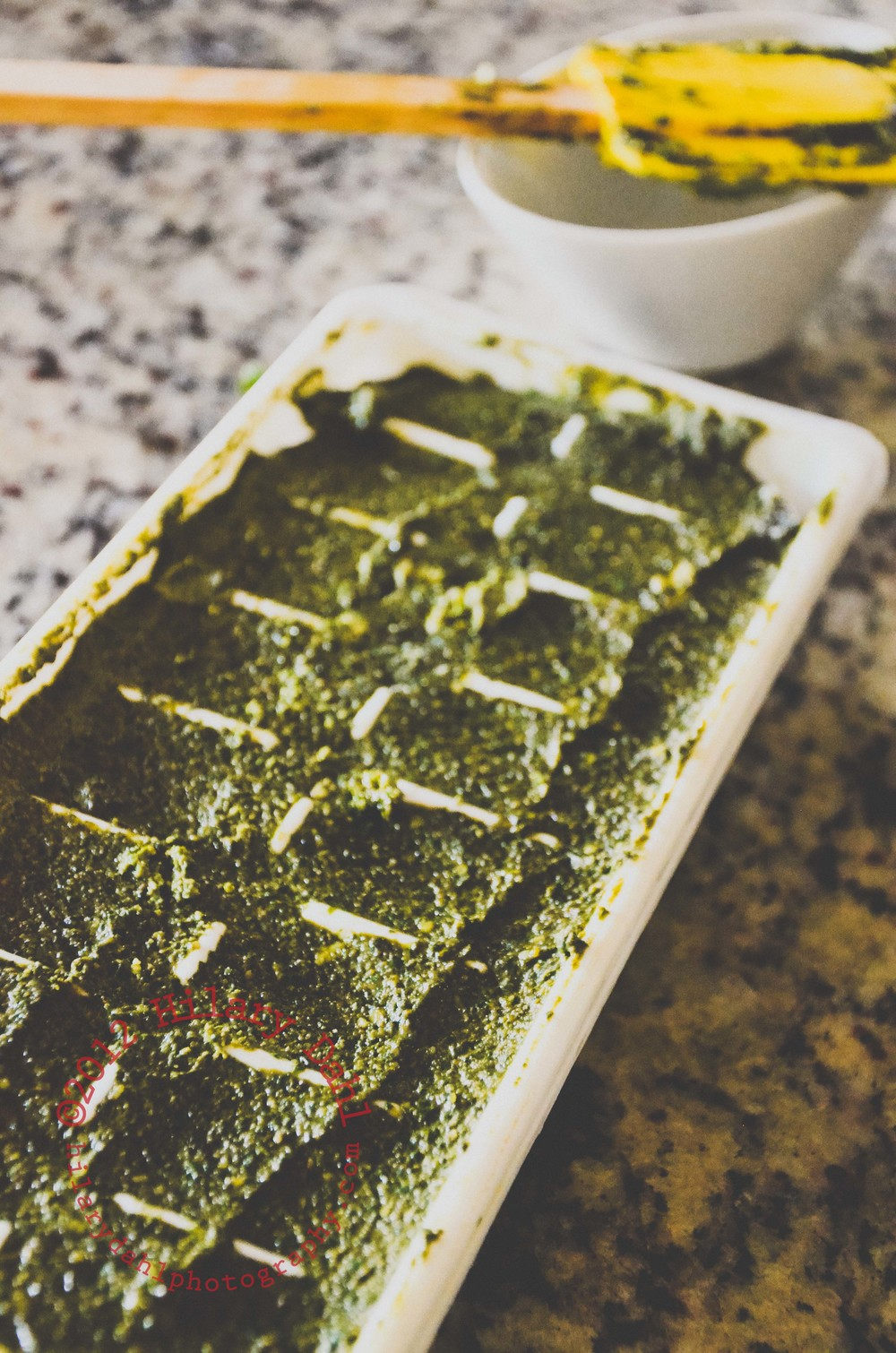 Freeze pesto in ice cube trays for ease of use.
